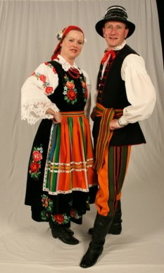 Dolina Polish Folk Dancers in Oberek costumes - Lowicz