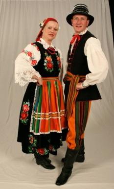 Dolina Polish Folk Dancers in Oberek costumes - Lowicz